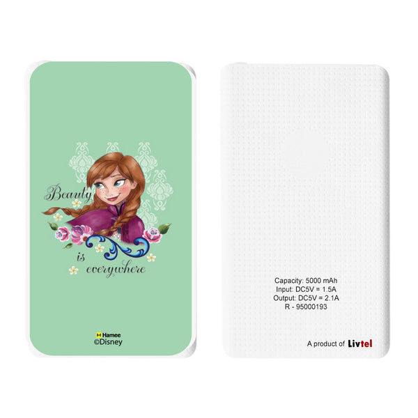 Livtel x Hamee Disney Princess Licensed Frozen 5000 mAh PowerBank with LED indicators and Reversible Micro-USB cable (Anna / Green)