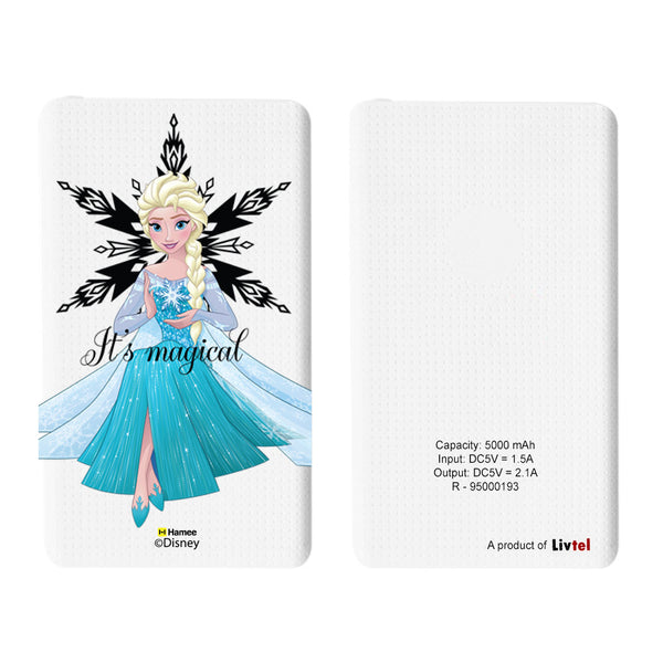 Livtel x Hamee Disney Princess Licensed Frozen 5000 mAh PowerBank with LED indicators and Reversible Micro-USB cable (Elsa / Magical)