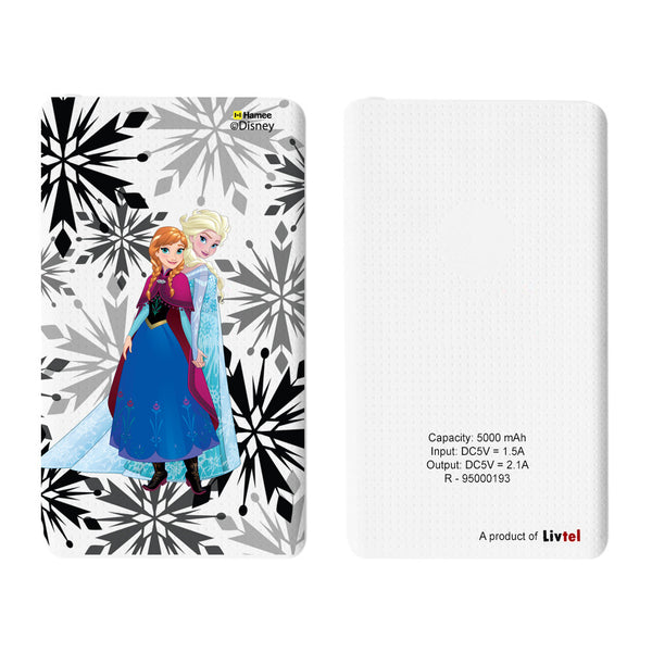 Livtel x Hamee Disney Princess Licensed Frozen 5000 mAh PowerBank with LED indicators and Reversible Micro-USB cable (Anna Elsa / Flakes)