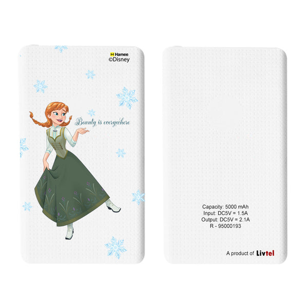 Livtel x Hamee Disney Princess Licensed Frozen 5000 mAh PowerBank with LED indicators and Reversible Micro-USB cable (Anna / Beauty)