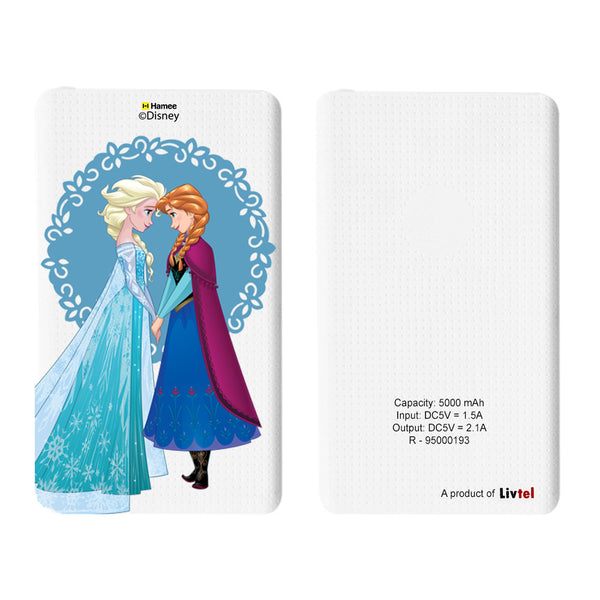 Livtel x Hamee Disney Princess Licensed Frozen 5000 mAh PowerBank with LED indicators and Reversible Micro-USB cable (Anna Elsa / Lace)