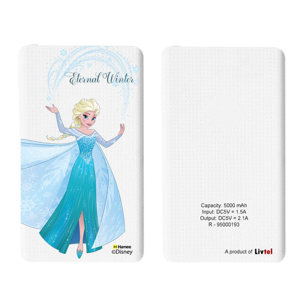 Livtel x Hamee Disney Princess Licensed Frozen 5000 mAh PowerBank with LED indicators and Reversible Micro-USB cable (Elsa / Eternal)