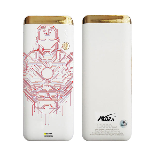 MORA x Hamee Designer Marvel Licensed 13000 mAh BIS Certified Colour Changing LED Light Torch Power Bank (Avengers Iron Man / Circuit)