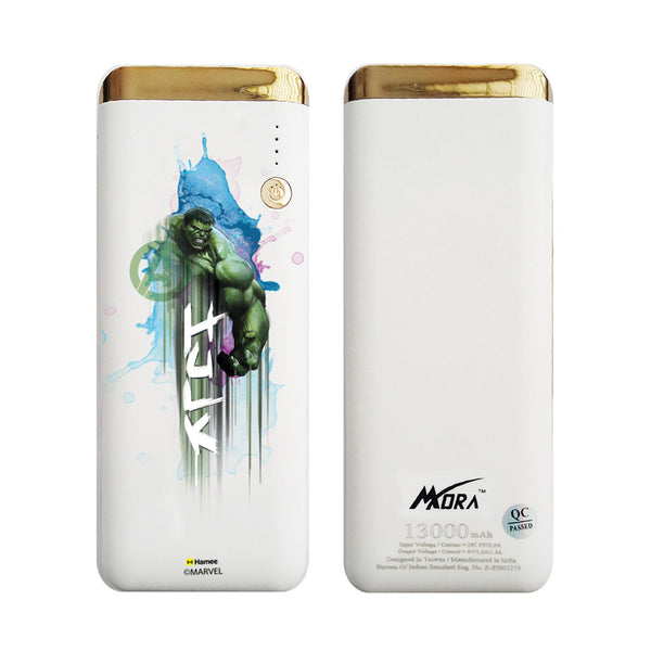 MORA x Hamee Designer Marvel Licensed 13000 mAh BIS Certified Colour Changing LED Light Torch Power Bank (Avengers / Hulk Watercolour)