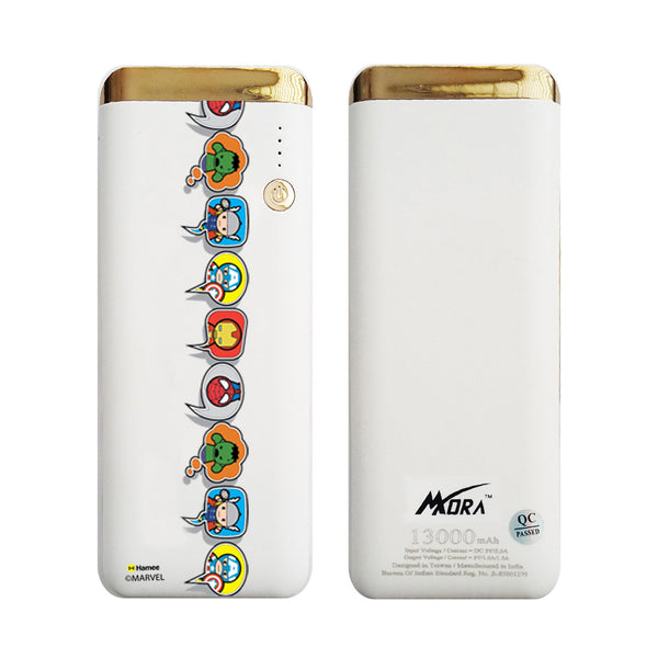 MORA x Hamee Designer Marvel Licensed 13000 mAh BIS Certified Colour Changing LED Light Torch Power Bank (Kawaii Avengers / Speech Bubbles)