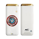 MORA x Hamee Designer Marvel Licensed 13000 mAh BIS Certified Colour Changing LED Light Torch Power Bank (Avengers Captain America / Shield Doodles)
