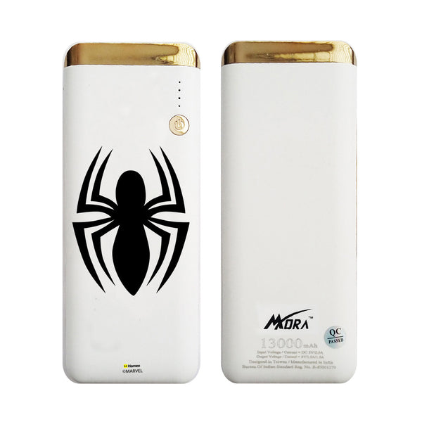 MORA x Hamee Designer Marvel Licensed 13000 mAh BIS Certified Colour Changing LED Light Torch Power Bank (Spiderman / Black)