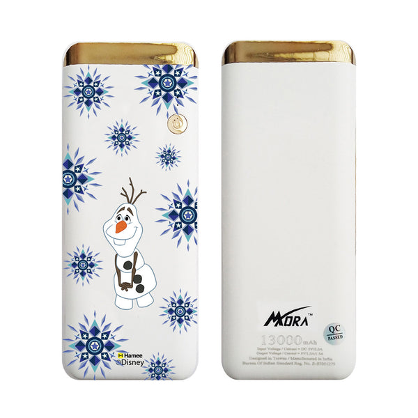 MORA x Hamee Designer Disney Princess Frozen Licensed 13000 mAh BIS Certified Colour Changing LED Light Torch Power Bank (Olaf / Blue Snowflakes)