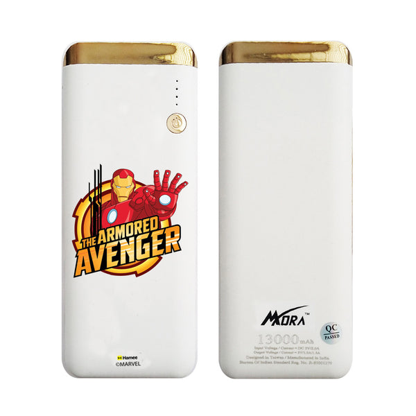 MORA x Hamee Designer Marvel Licensed 13000 mAh BIS Certified Colour Changing LED Light Torch Power Bank (The Armored Avenger / Iron Man)