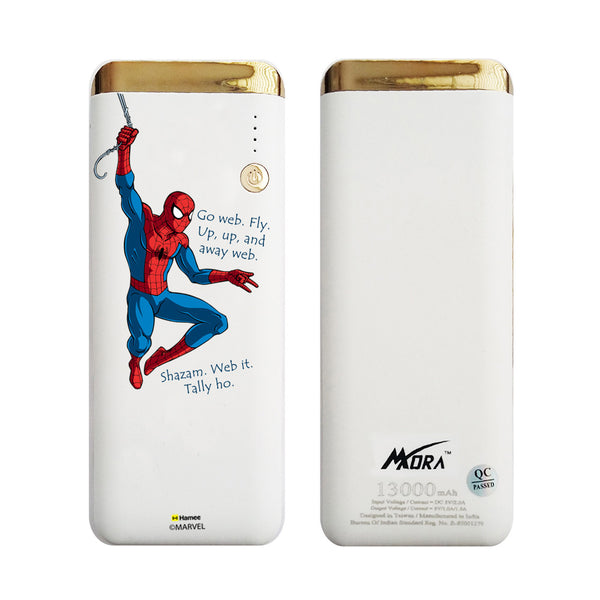 MORA x Hamee Designer Marvel Licensed 13000 mAh BIS Certified Colour Changing LED Light Torch Power Bank (Spiderman / Go Web)