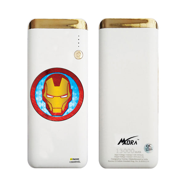 MORA x Hamee Designer Marvel Licensed 13000 mAh BIS Certified Colour Changing LED Light Torch Power Bank (Avengers Iron Man / Face)
