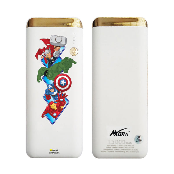 MORA x Hamee Designer Marvel Licensed 13000 mAh BIS Certified Colour Changing LED Light Torch Power Bank (Avengers Group)