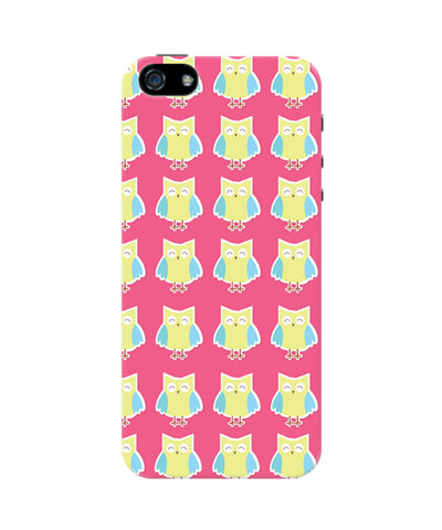 Cute Owl Pink and Yellow iPhone 5/5S Case by Tanvi