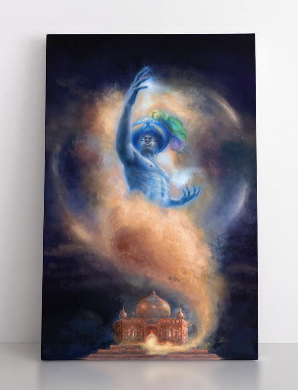 GENIE, canvas art in room. Magic blue genie emerges from Indian temple.