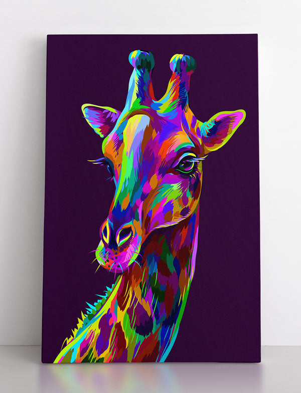 GIRAFFE, canvas art in room. Colorful, vibrant, rainbow giraffe portrait on purple background.