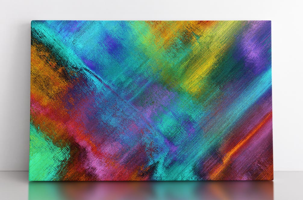 INTERSECT, canvas art in room. Abstract canvas wall art with multiple, bright colors intersecting and blending into one another.