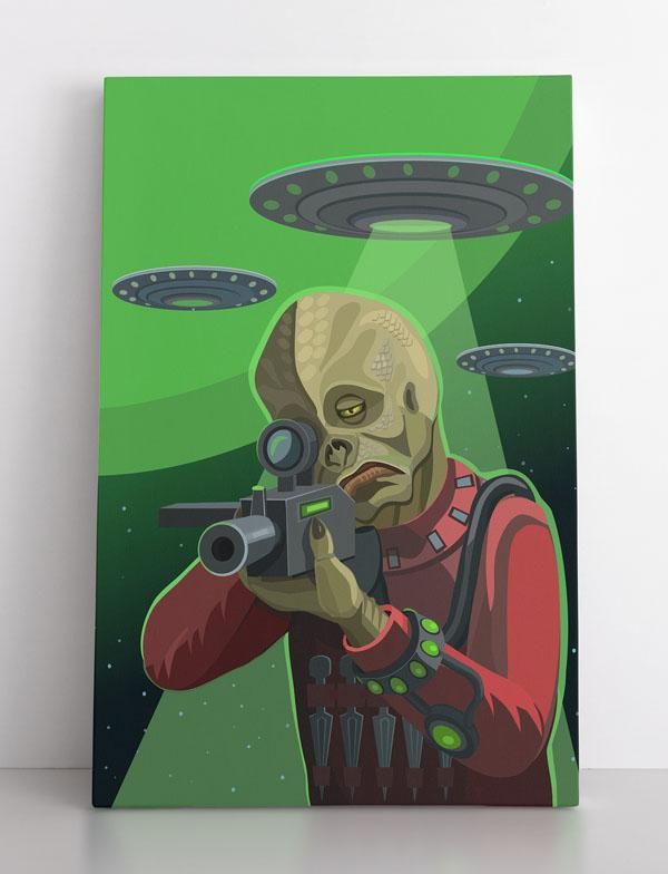 """Invasion"", aliens invade & attack Earth, poster or canvas wall art"