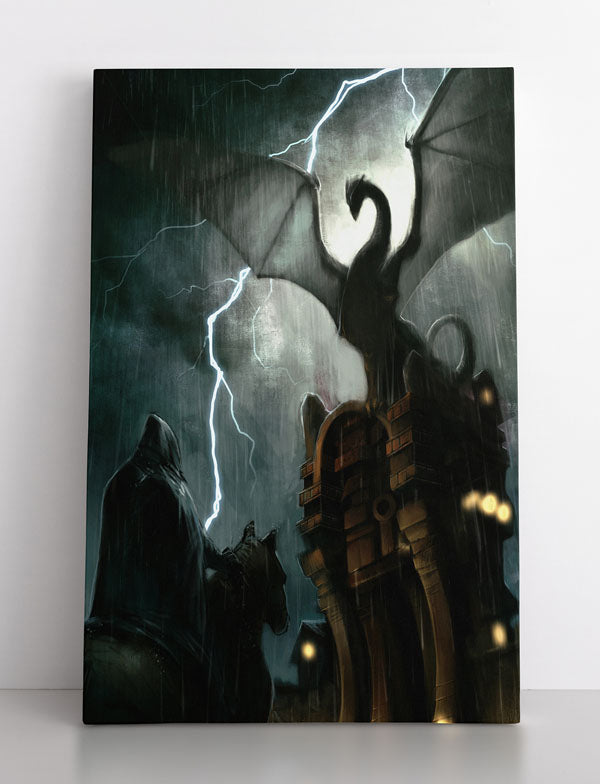 SHOWDOWN, canvas art in room. Man faces dragon for final battle during lightning storm.
