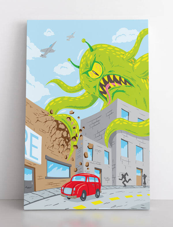 THE MONSTER, canvas art in room. Giant green tentacled monster attacks town as people flee in terror.