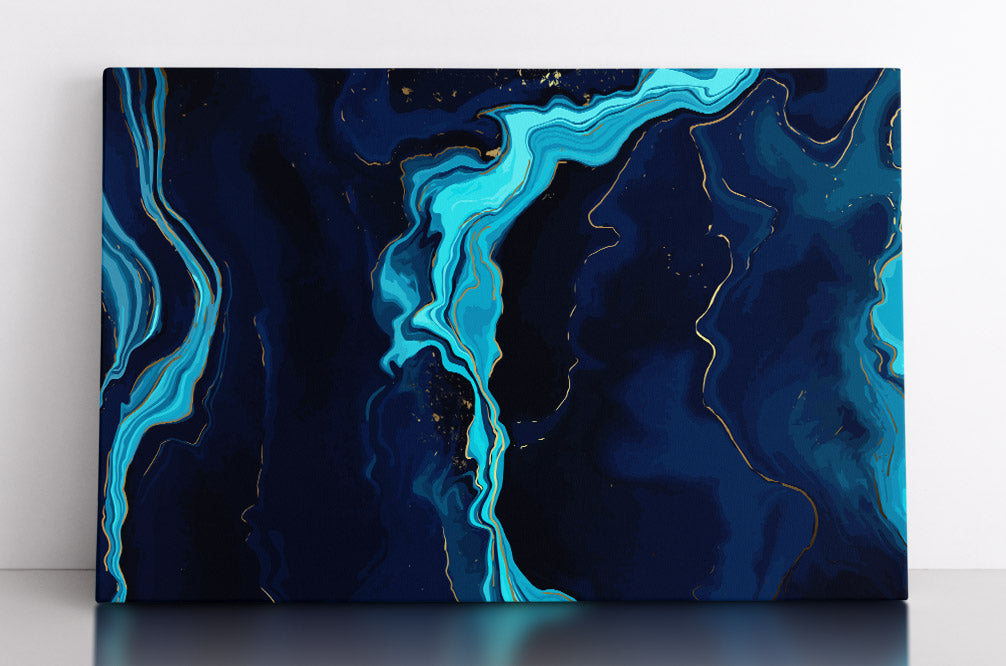 Abstract, dark blue liquid marble with baby blue accents. Canvas wall art in room.