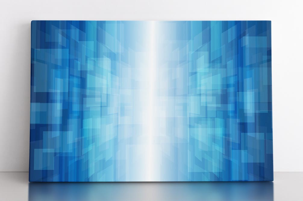Abstract information gateway featuring blue rectangles in light tunnel. Canvas wall art in room.