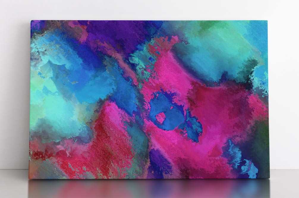Abstract, light blue splotches with magenta highlights. Canvas wall art in room.