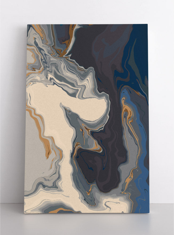Abstract, white & gray liquid marble with gold accents. Canvas wall art in room.