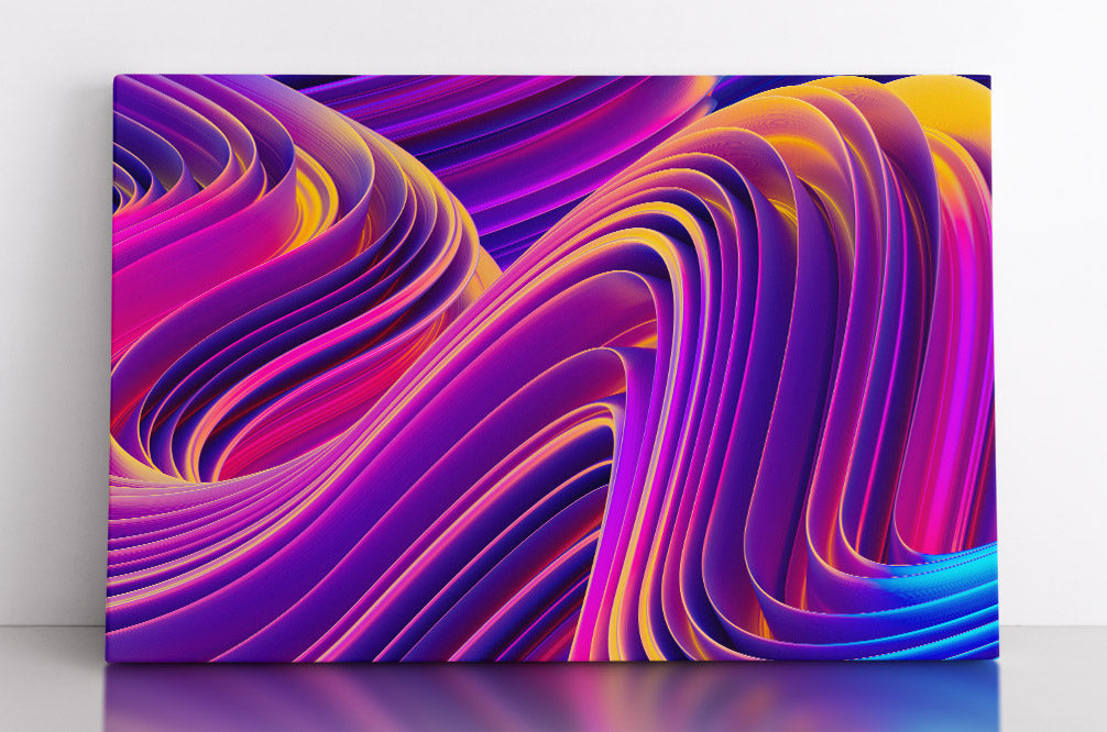 Abstract, pink and purple wavy, 3D lines. Canvas wall art in room.