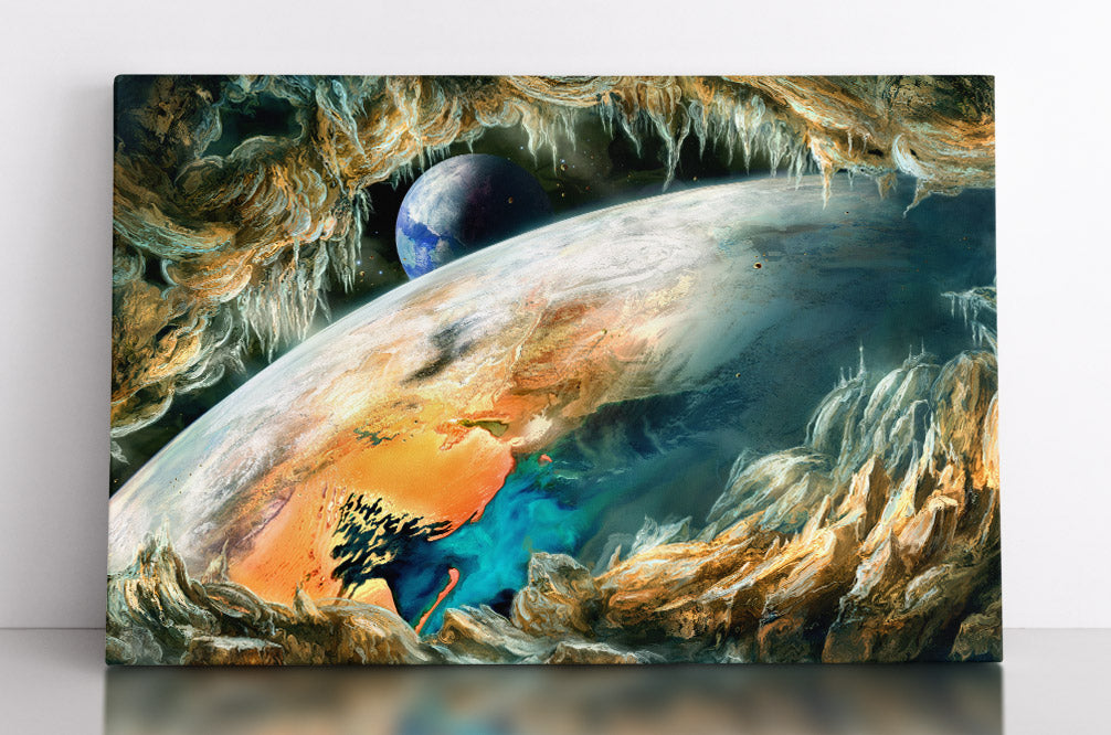 Alien exoplanet in outer space, viewed from cave on orbiting moon. Canvas wall art in room.