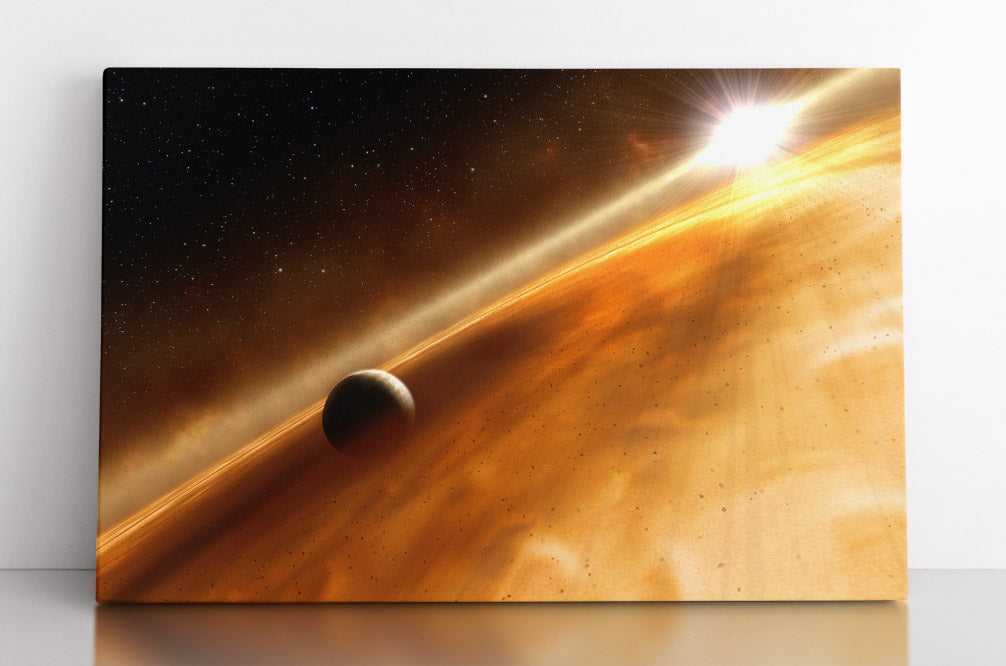 Alien exoplanet in outer space with shining star in distance, illustration. Canvas wall art in room.