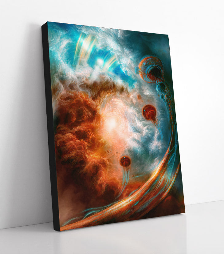 Alien floaters, fantasy lifeforms floating in clouds. Canvas wall art in room.