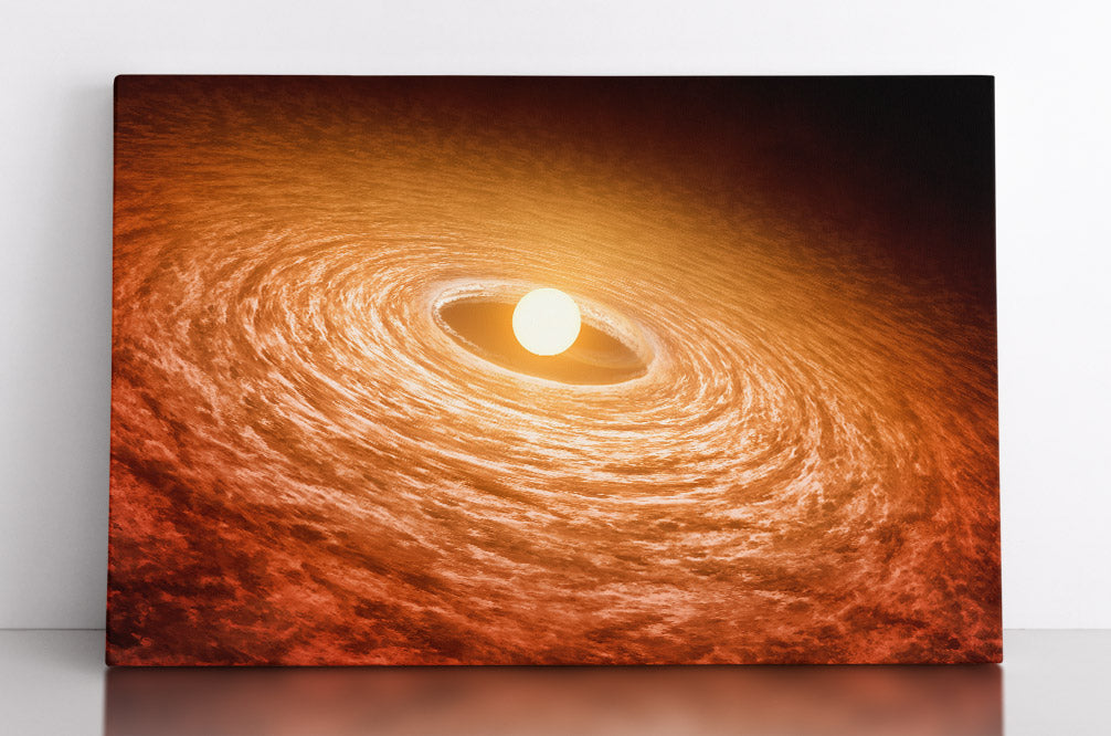 Alien star in outer space with accretion disk of gas and dust. Canvas wall art in room.