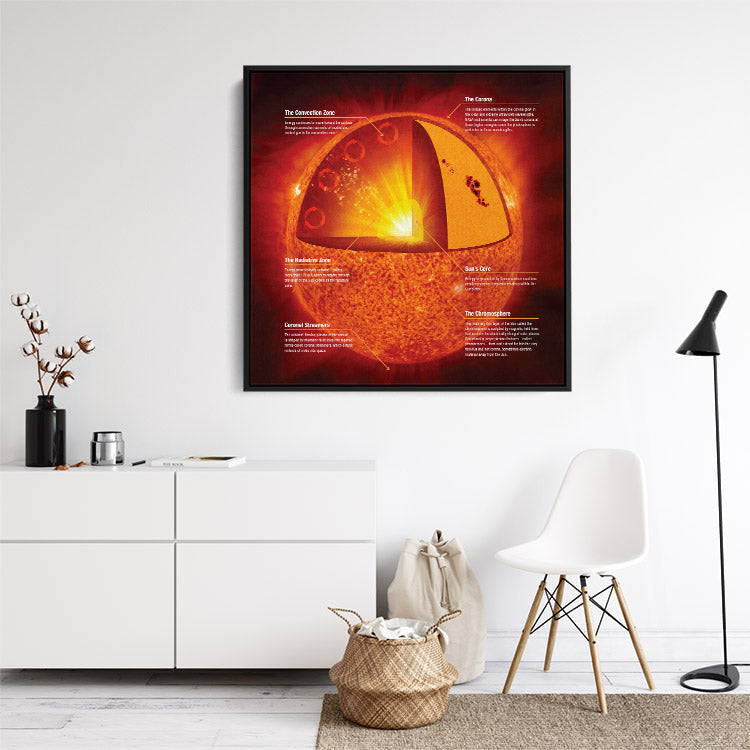 """""""Anatomy of the Sun,"""" astronomy science infographic. Framed canvas wall art in room."""