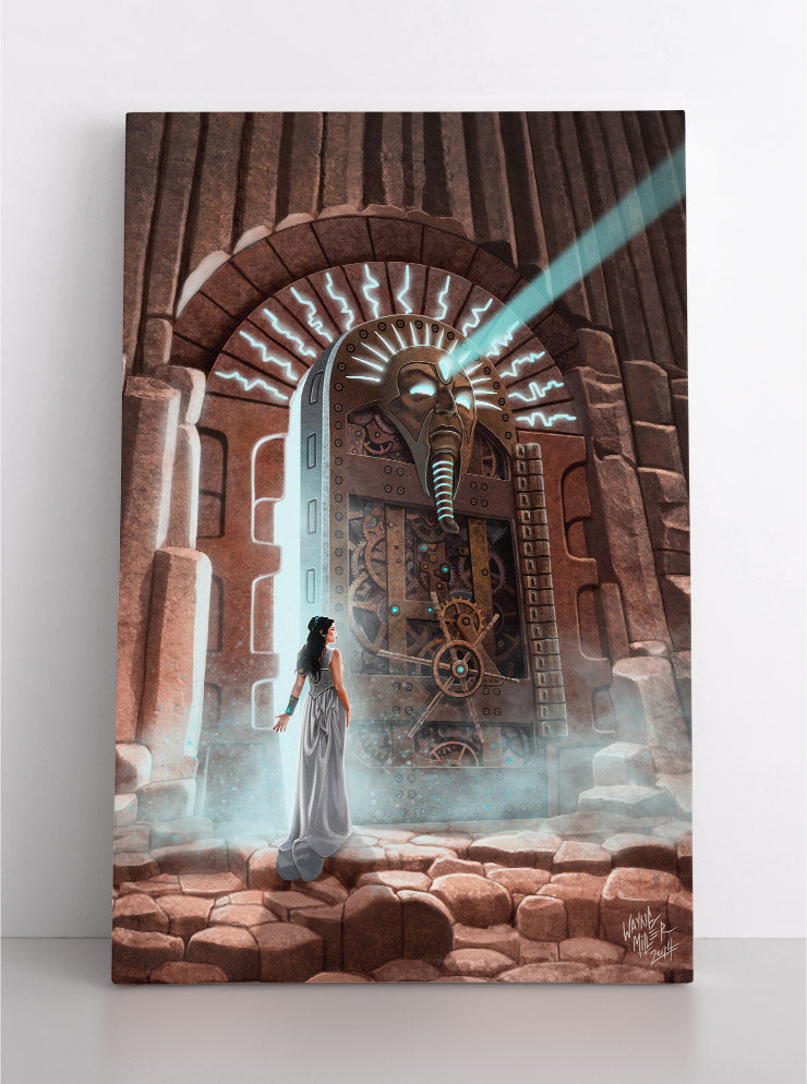 Ancient, magical Egyptian tomb dramatically opens, revealing its inner secrets as a priestess watches. Canvas wall art in room.