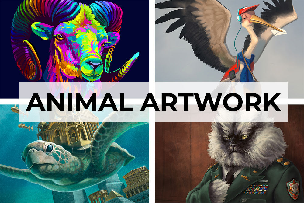 Animal fantasy artwork collection. Canvas wall art category.