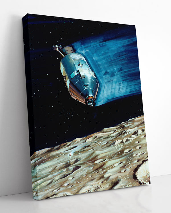 Apollo 15 spacecraft in orbit, landing on the surface of Earth's Moon. Canvas wall art in room.