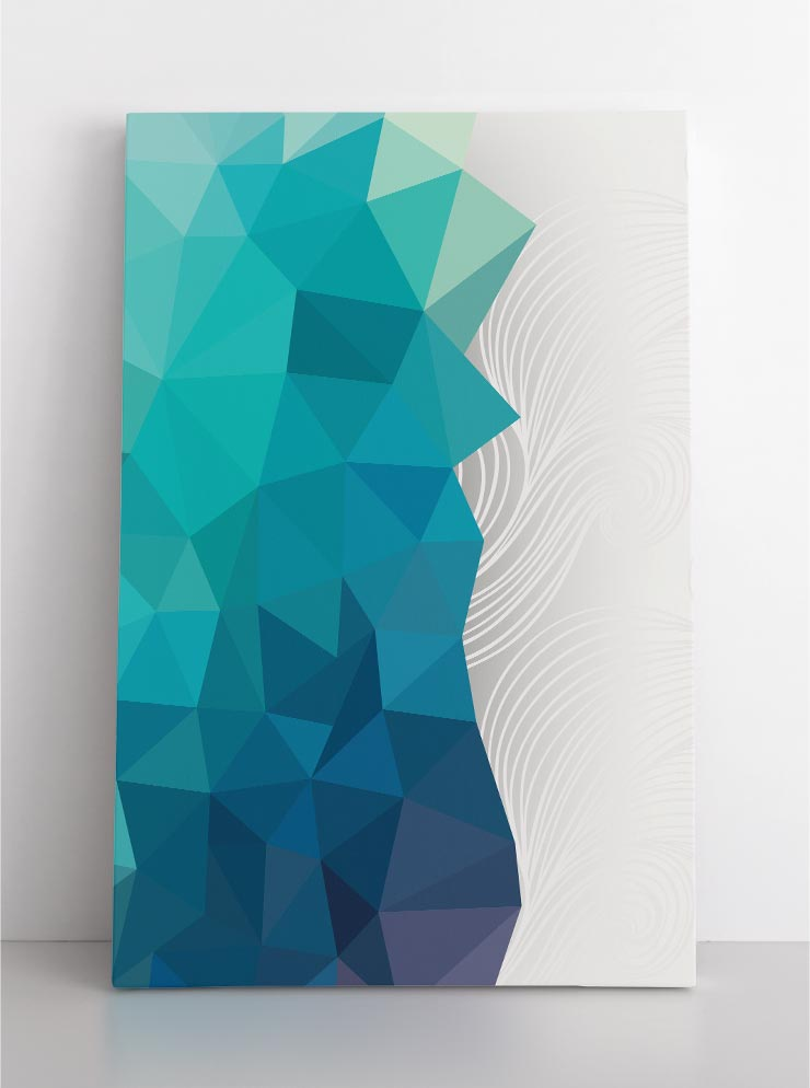 ARCTIC, canvas art in room. Abstract, triangular shades of blue on white background.