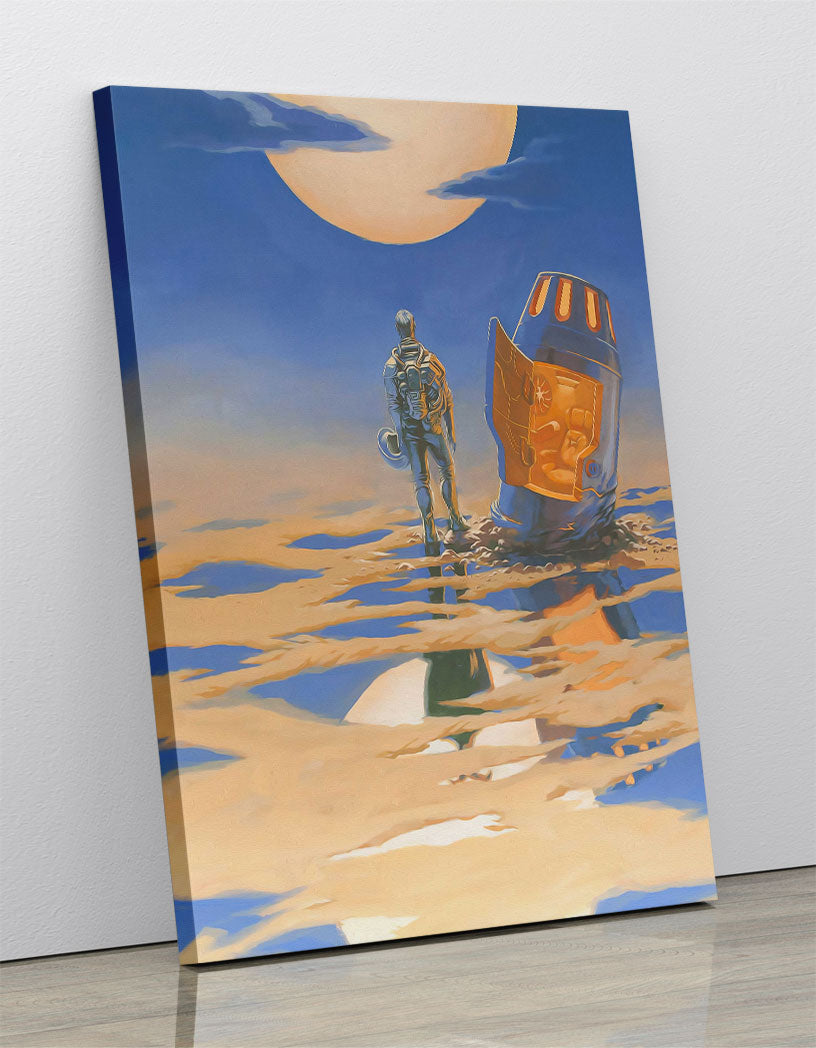 Astronaut crash landed on alien planet in space, next to escape pod, staring into desert sunset. Canvas wall art in room.