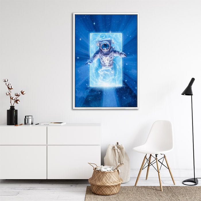 Astronaut emerges from portal from another dimension, framed canvas wall art in lounge room.