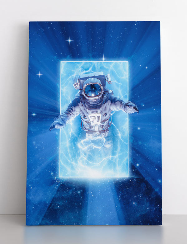 Astronaut emerges from portal from another dimension, canvas wall art in room.