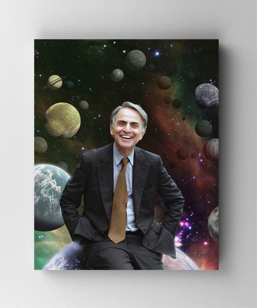 Astronomer Carl Sagan smiling, surrounded by planets. Canvas wall art in room.