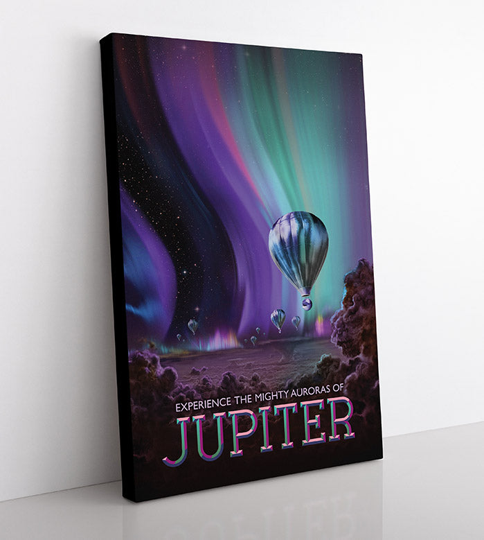 "Space travel ad featuring the auroras of planet Jupiter, as seen from hot air balloons. Text reads: ""Experience The Mighty Auroras of Jupiter."" Canvas wall art in room, side view."