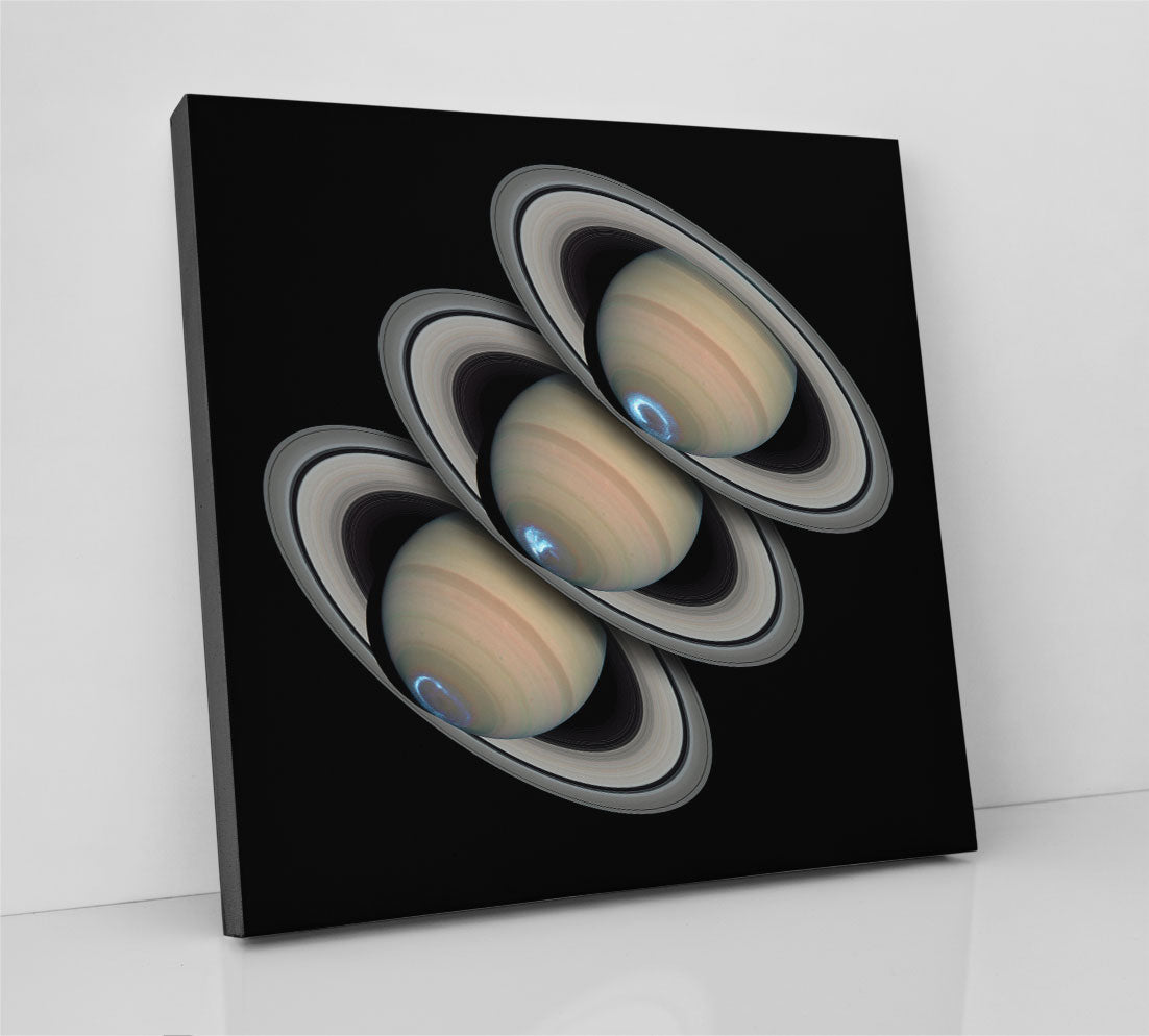 Auroras on the south pole of planet Saturn, in an image collage captured by NASA. Canvas wall art in room.