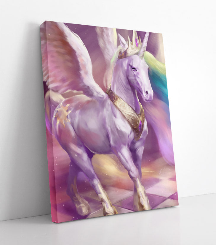 Beautiful white unicorn with wings and crown trots across checkerboard floor in heavenly scene. Canvas wall art in room.