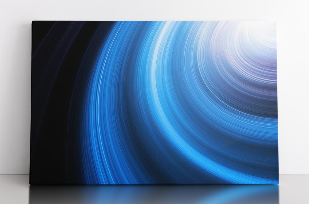 Blue spiral spinning accretion disk, canvas wall art in room.