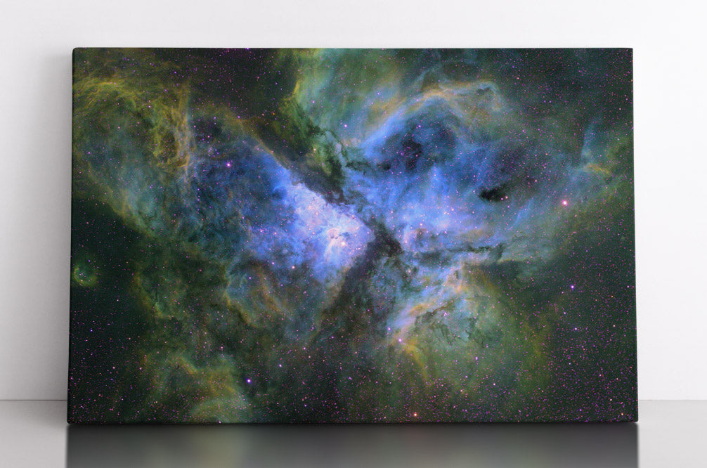 The Carina Nebula (NGC 3372) in outer space. Canvas wall art in room.