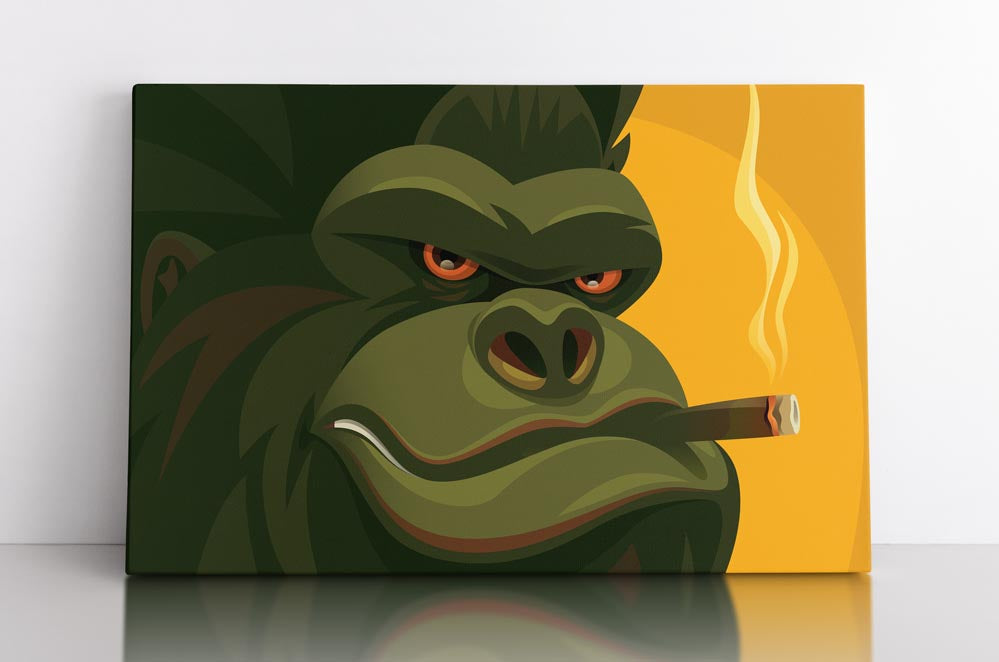 Cartoon silverback gorilla, viewed close up, smoking cigar while smiling (on a yellow background.) Canvas wall art in room.