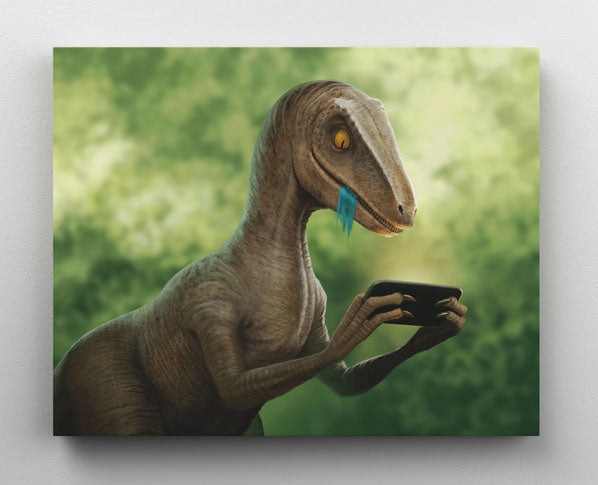 Clever Velociraptor dinosaur uses smartphone, canvas wall art in room.