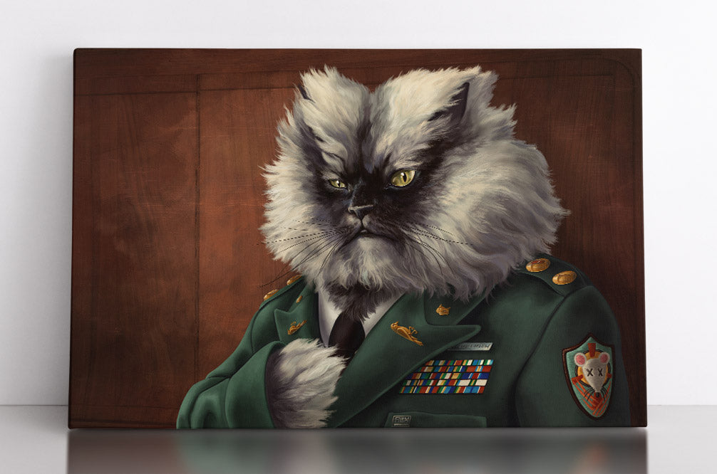 Cat dressed up as military colonel in full uniform, funny canvas wall art in room.