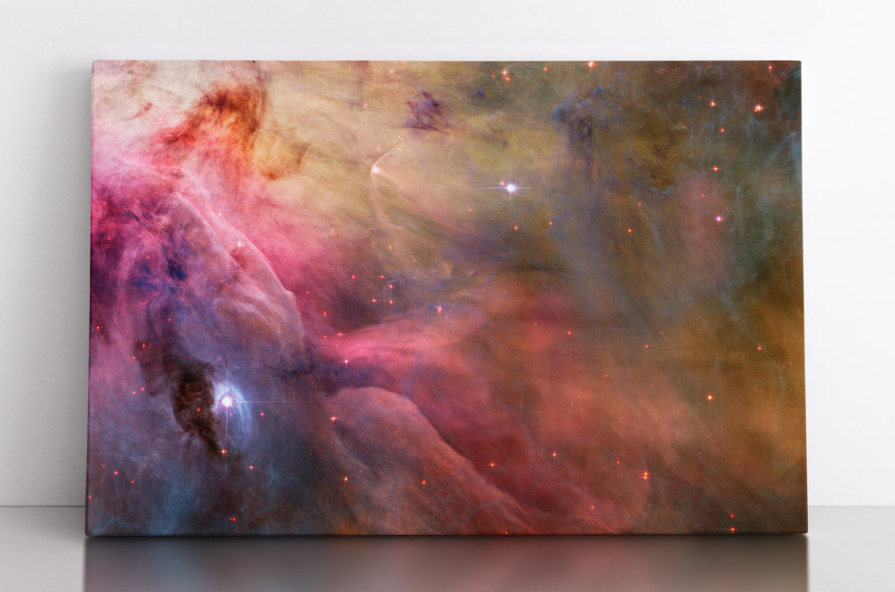 The colorful star system LL Orionis with gas clouds, Hubble Space Telescope image. Canvas wall art in room.